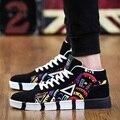 Venda quente Nova Marca de moda Homens Sapatos Casuais Rendas Até Sapatos de Homens 2016 Apartamentos Sapatos Masculinos Formadores Preto 45 46 47 Grande Grande Tamanho