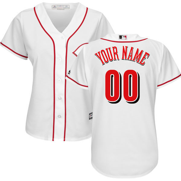 MLB Womens Cincinnati Reds White Home Cool Base Custom Jersey