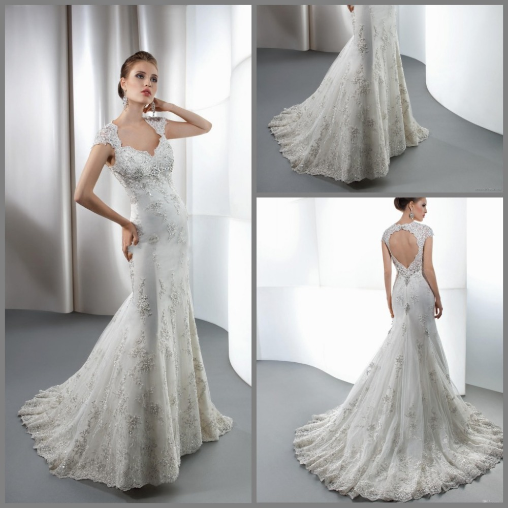 V Neck Beaded Wedding Gowns: V Neck Mermaid Wedding Dresses Tulle Applique Beaded