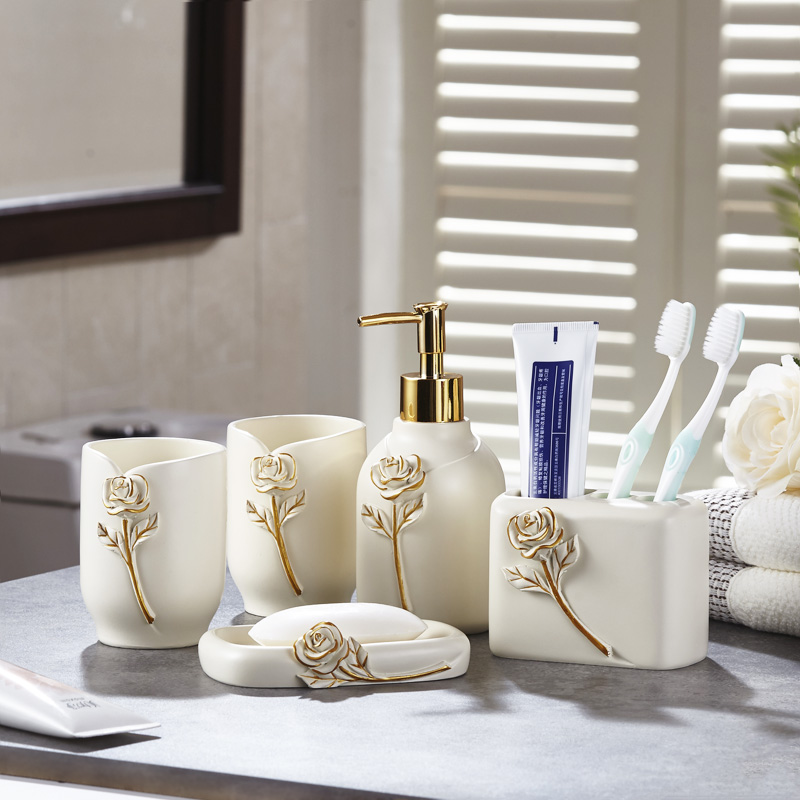 Modern set of five sets of modern bathroom set high-end wash cup creative bathroom kit new wedding products lo83242 simple bathroom ceramic wash four piece suit cosmetics supply brush cup set gift lo861050
