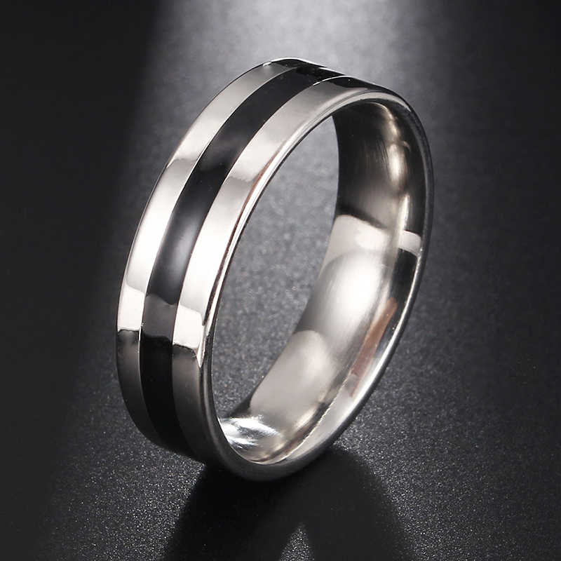 Mens firefighter Ring Stainless Steel Thin black line Ring Top Quality black line rings drop shipping