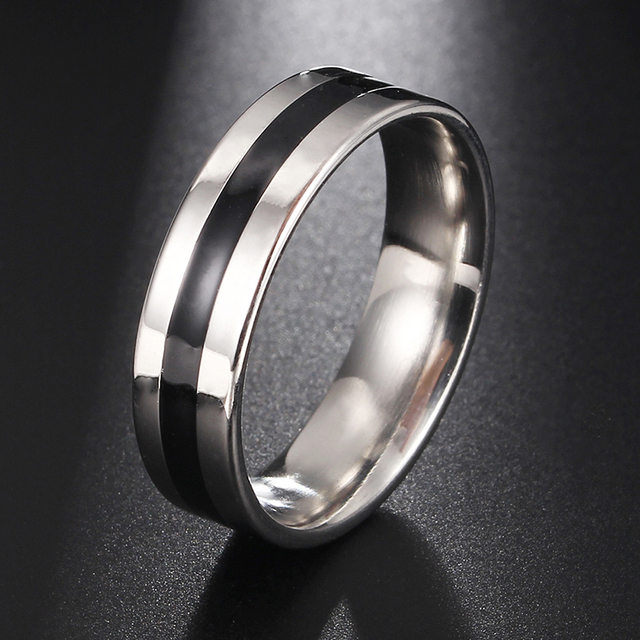 Mens Firefighter Ring Stainless Steel Thin Black Line Top Quality Rings Drop Shipping