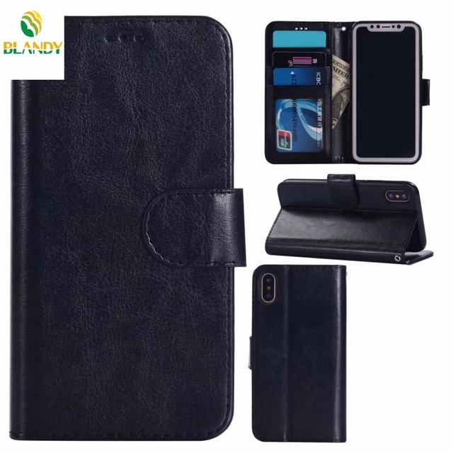 c5e9df31be 50pcs/lot for iphone X Crazy Horse Wallet PU Leather TPU Case Cover for  iphone 7 8 plus for iphone 6 plus SE 5 5S 4 4S