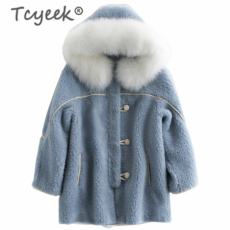 Tcyeek Real Fur Coat Female Winter Women Clothes 2019 Korean Thick Warm Sheep Shearing Jacket + Large Fox Fur Hooded V18F38720