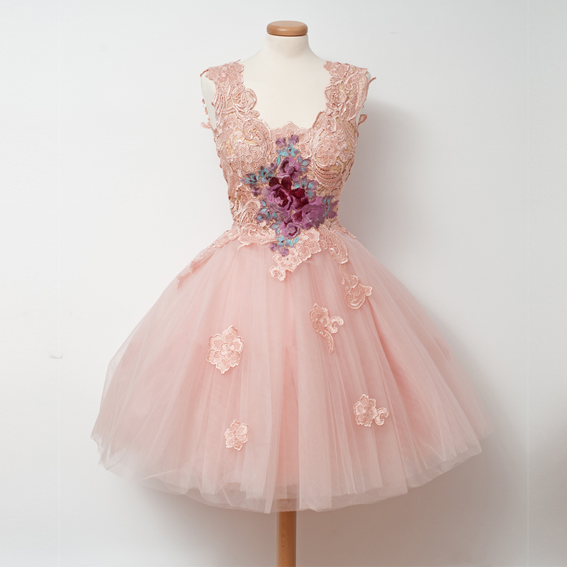 IBayU Lace Appliques New Prom Dresses 2017 Short Tutu Prom Dresses ...
