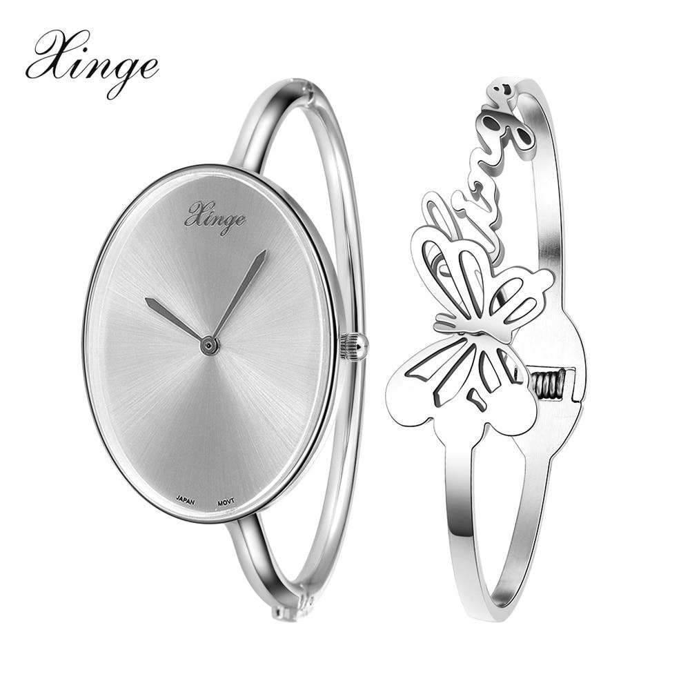 e3ab1a1cd808 Xinge Reloj de la Marca Mujeres 2016 Plata Oro Rosa Oval Reloj de La  Mariposa Conjunto Vestido de Las Mujeres Reloj de Cuarzo Relojes de Pulsera  Reloj de ...