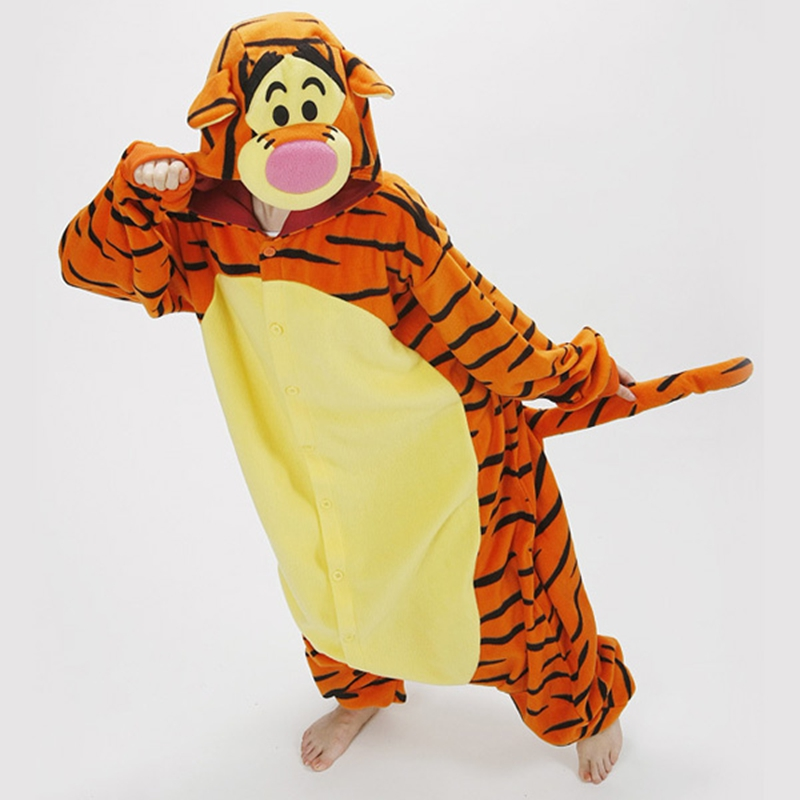 Cute Animals Adult Romper Pajamas Jumping Tigger Pattern Costume Pyjamas for Onesies tigger Unisex Pajamas Adult Cosplay Costume