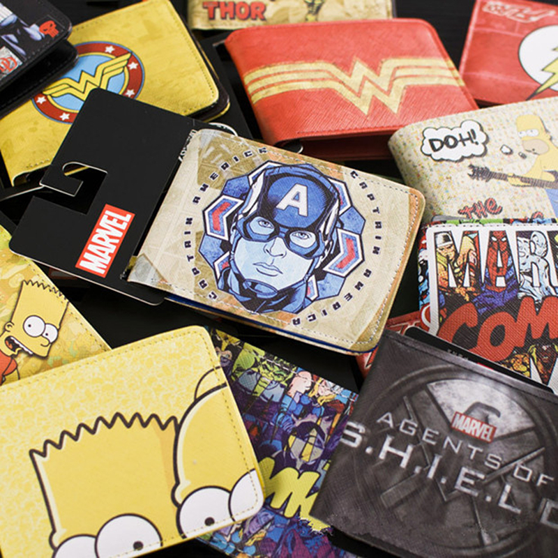 Cartoon Comics DC Marvel the Avengers Hulk/Iron Man Thor/Captain AmerIca/Superman Logo Credit Oyster License Card Holder Wallet dc marvel comics wallets cartoon anime iron man spiderman captain america hulk creative gift purse kids folder short wallet