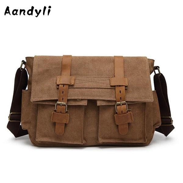 Canvas Laptop Crossbody Bag Men's Messenger Bags Single Shoulder bag Casual Travel Bags