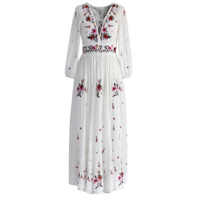 a541f86036e BOHO INSPIRED women dress floral embroidery V-neck lace up long sleeve  white long maxi dresses bohemian chic vestidos 2018