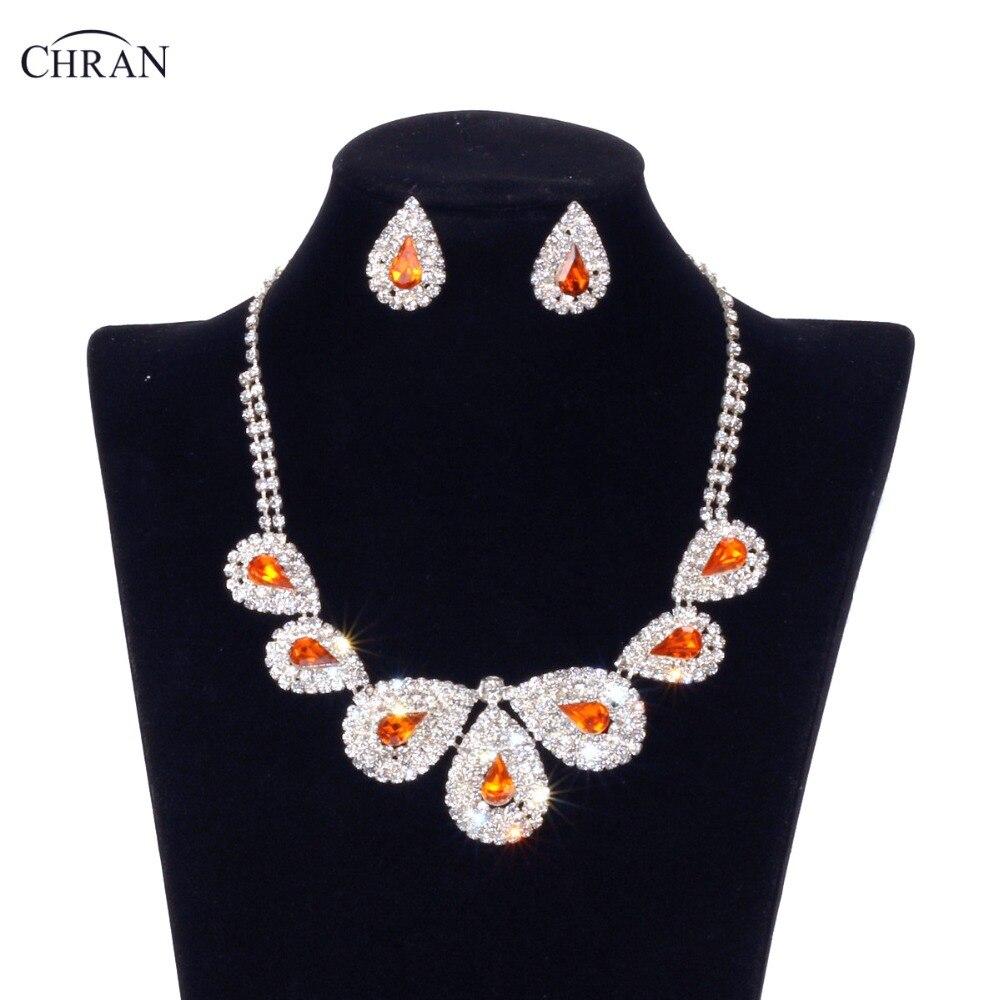 Celebrity Wedding Sets: CHRAN Orange Bridal Wedding Jewelry Sets Celebrity