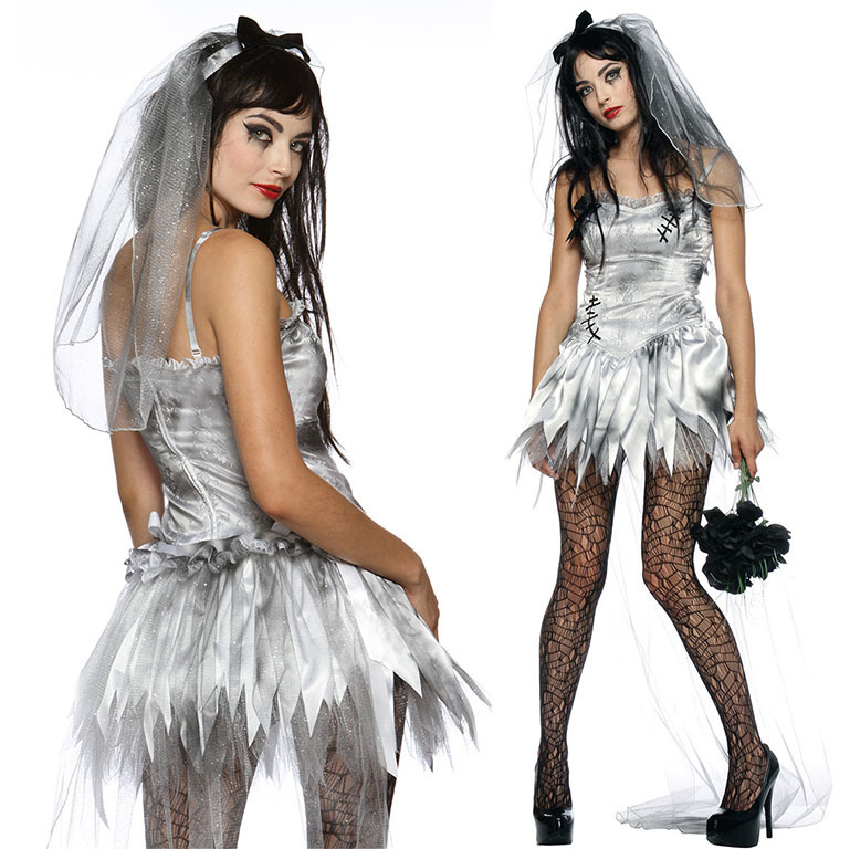 Sexy Adult Costume Zombie Bride Fancy Dress Party Cosplay