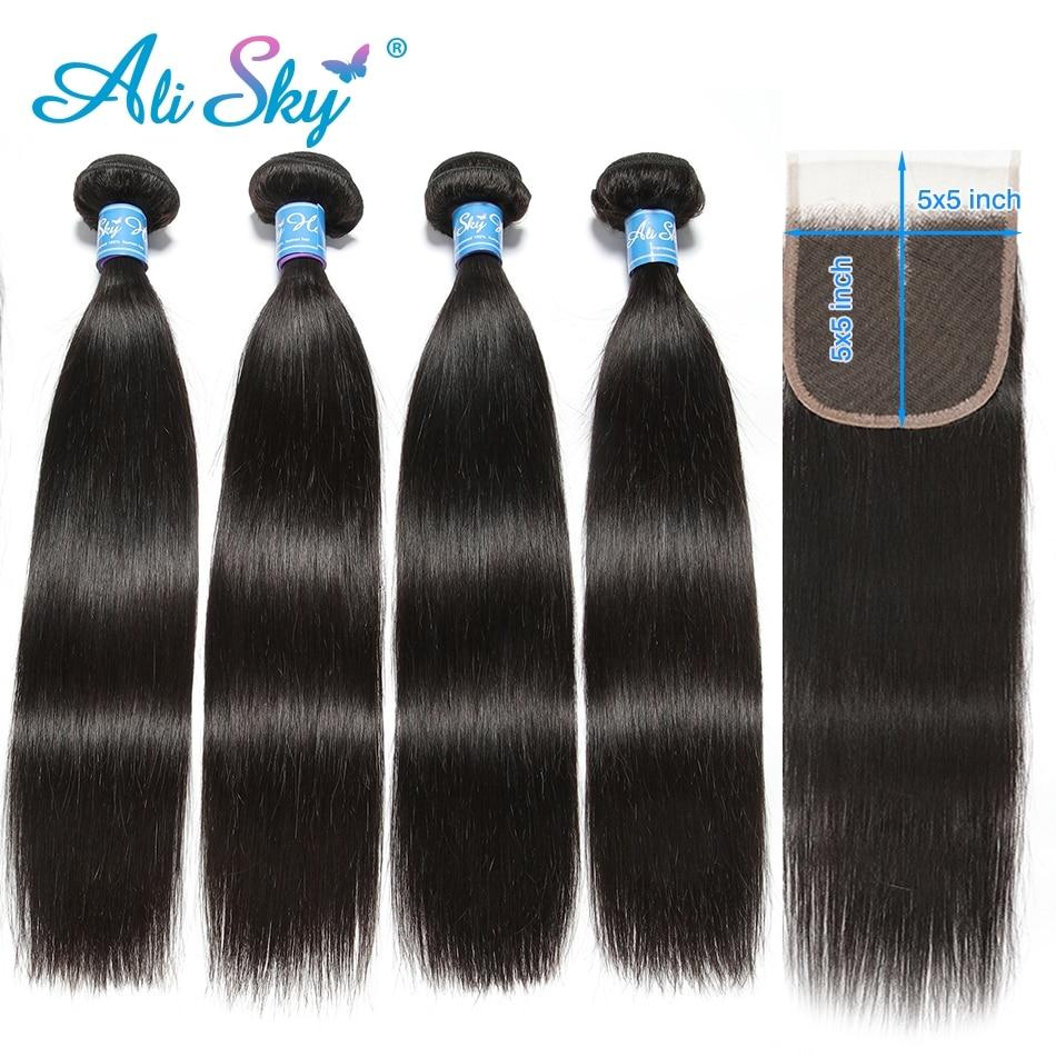 Alisky Hair Brazilian Straight Hair 4 Bundles With 5X5 Closure Human Hair Bundles With Closure Remy