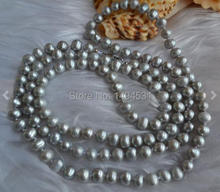 Wholesale Pearl Jewelry , Long 34 Inches 6-7mm Gray Color Genuine Freshwater Pearl Necklace , Bridesmaids Wedding Jewelry.