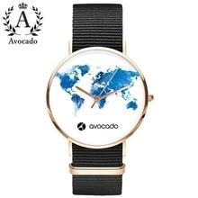 купить Avocado 2018 new brand watches world map watch travel travel graphic ladies women couple canvas quartz watch Christmas gift дешево