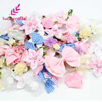 Lucia crafts 20g/lot Random Mix Bow/Flowers/Rosette Girls Boutique Mini Ribbon Hair Bow DIY Garment Accessories B1202