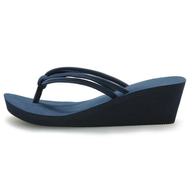 Pu Rubber Slip-on Casual Plain Fashion Sandals Shoes Beach Flat Wedge Flip Flops Lady Slippers Women 2017 summer style