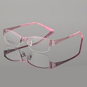 Image 3 - Reven Jate Mezza Senza Orlo Degli Occhiali Telaio Prescrizione Ottica Del Semi Rim Occhiali Montatura per Occhiali per Le Donne Delle Occhiali Femminile