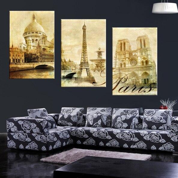 3 Panel Modern Paris Eiffel Tower Landscape Painting Picture Cuadros Decoracion City Landscape