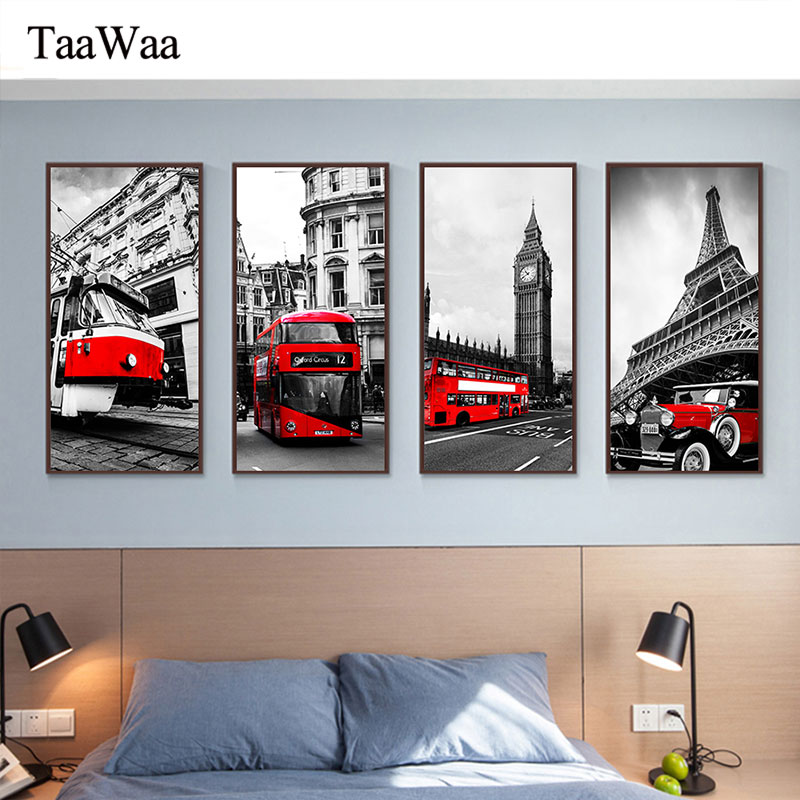 London Paris Rome famous building Canvas Wall Art Prints Red Car tram Tower Big Ben Painting Nordic Decorative Pictures Decor in Painting Calligraphy from Home Garden