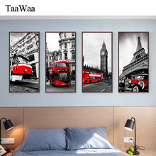 London Paris Rome famous building Canvas Wall Art Prints Red Car tram Tower Big Ben Painting Nordic Decorative Pictures Decor
