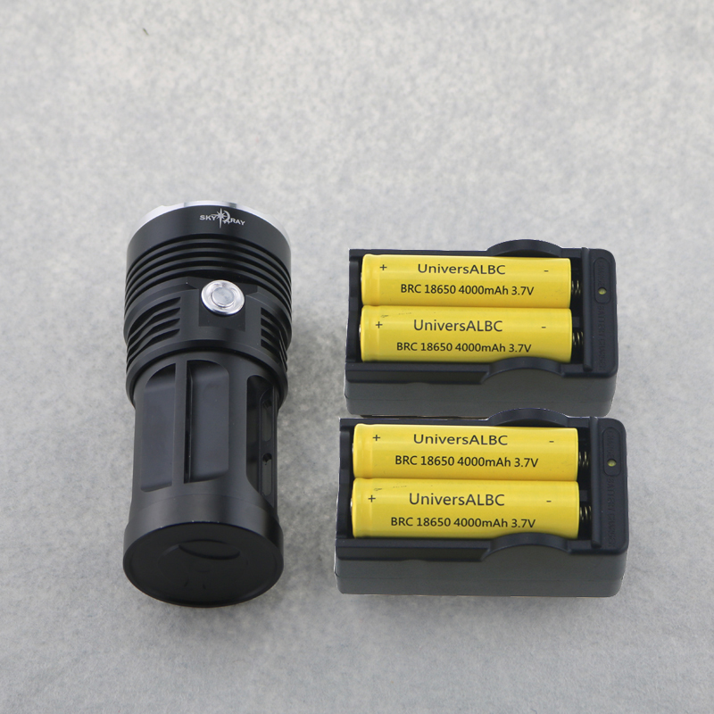 Skyray Tactical Flashlight 10T6 20000 lumen Bike Light 10xCree XM-L T6 Led Torch Hunting Lamp +4x18650 4000mah Battery+2xCharger 10t6 18650 battery 20000 lumens tactical flashlight skyray 10x cree xm l t6 3 mode led linternas torch lamp bike light