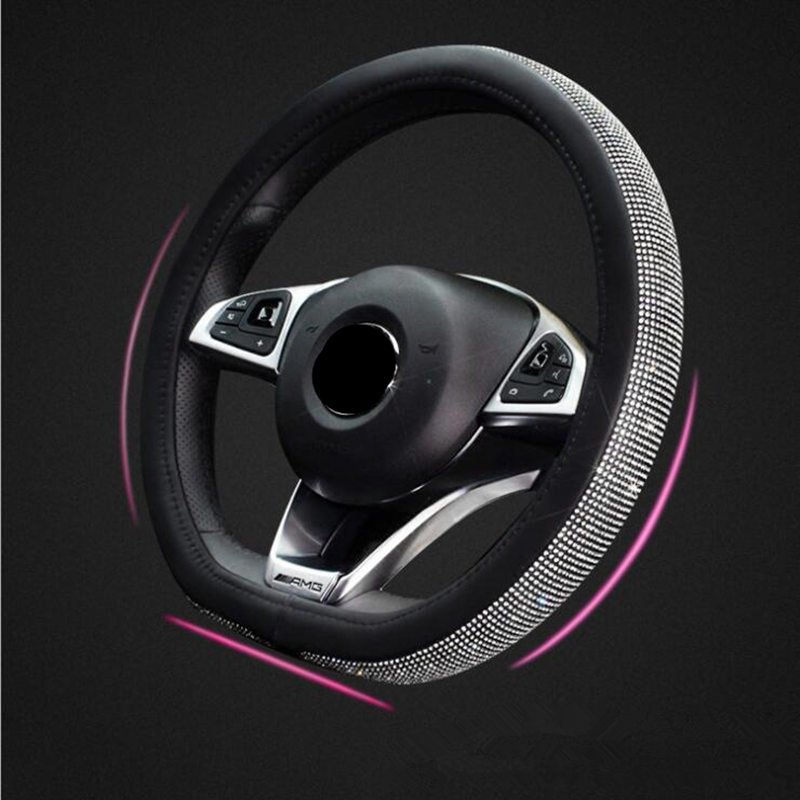 D shape Car Leather Steering Wheel Covers Cap Steering Wheel Crystal For VW GOLF 7 2015 POLO JATTA Interior Accessories image