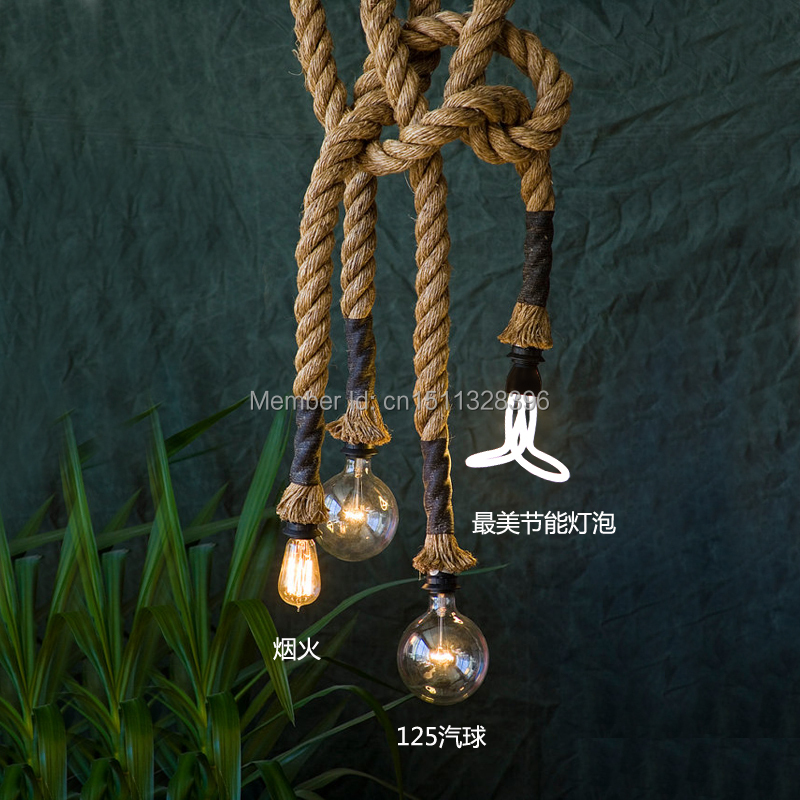 Vintage Style Creative Edison lamp  Personality Decoration Hemp Rope Pendant Lamp Hall Cafe Bar Coffee Shop Store Club vintage loft industrial edison flower glass ceiling lamp droplight pendant hotel hallway store club cafe beside coffee shop
