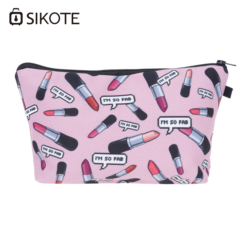 SIKOTE New Im So Fab Lipstick Cosmetic Bags Sailboat Charming Pink Color Make up Bag Ladies Trousse De Maquillage Lovely Case