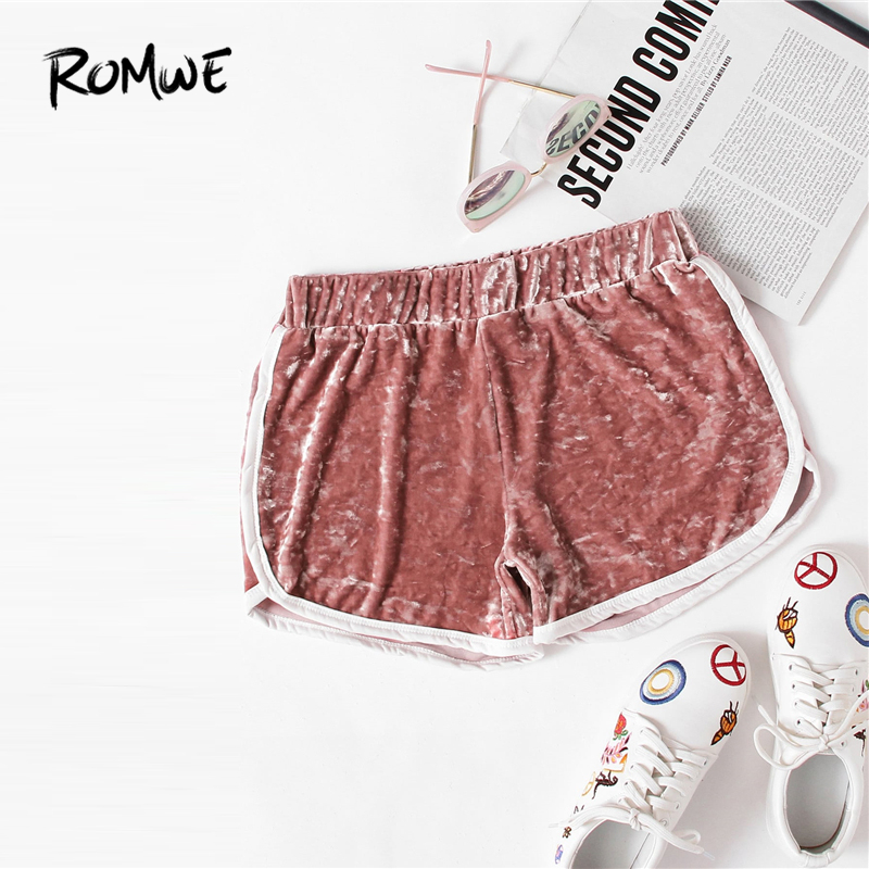 ROMWE Velvet Contrast Trim Elastic Waist 2019 Cool Fashion Women Sexy Spring Autumn Casual Female Mid Waist Pink   Shorts