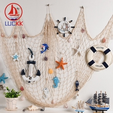 LUCKK 150*200CM Fish Net For Home Decor Nautical Ornaments Wall Hanging Shell Mediterranean Style Ocean Prop Party Stickers