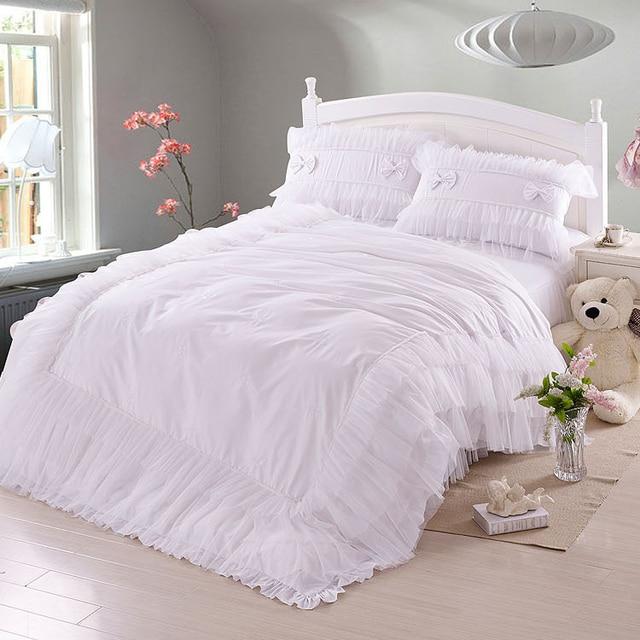 Matrimonio Bed Cover : Luxury white lace falbala ruffle bedding set queen size