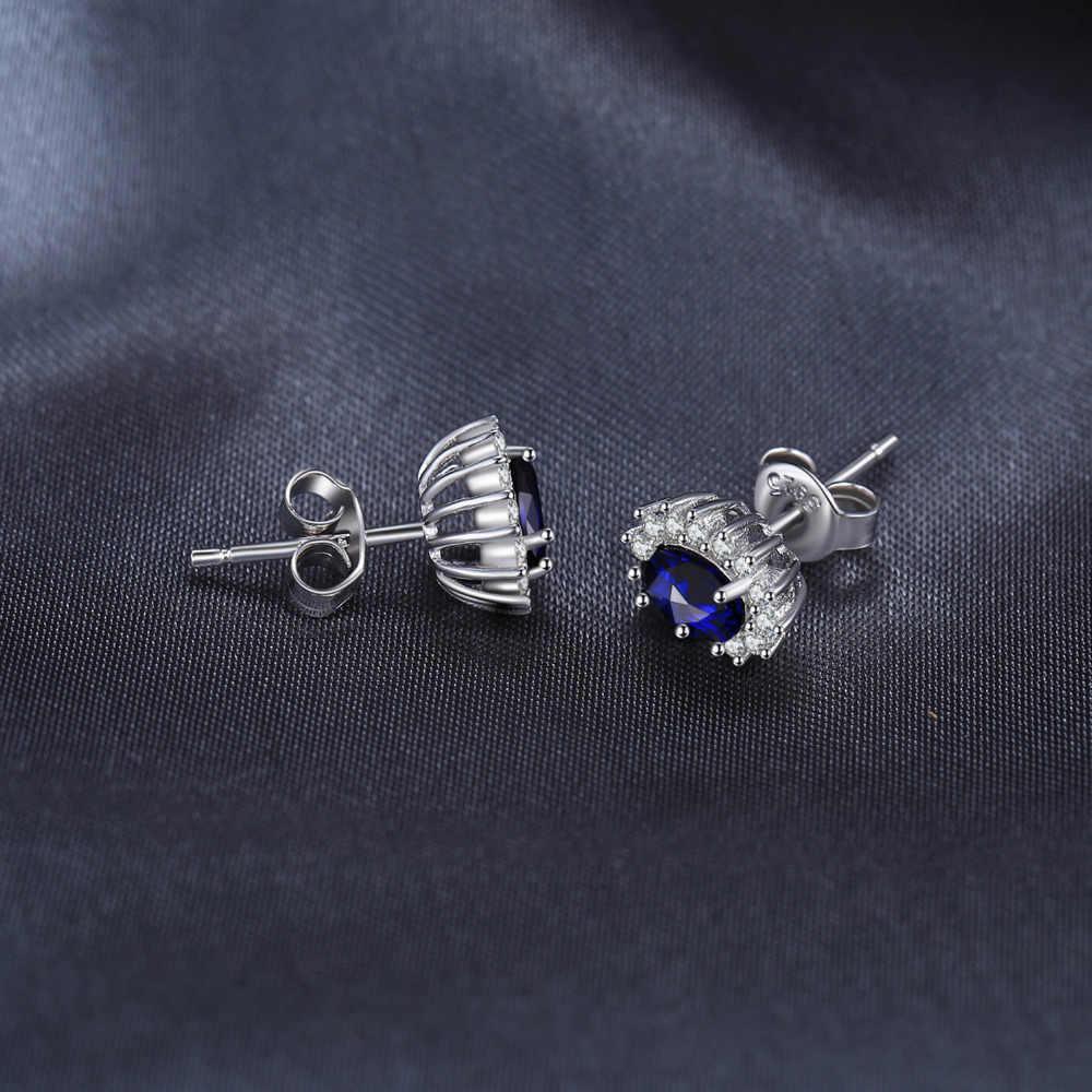 JPalace Diana สร้าง Blue Sapphire Stud Earrings 925 เงินสเตอร์ลิงต่างหูเกาหลีต่างหูแฟชั่นเครื่องประดับ 2019