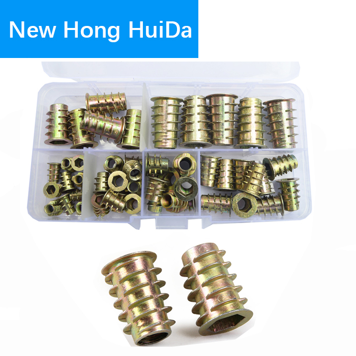 Furniture Nuts Thread For Wood Flanged Hex Drive Head Insert Nut Zinc Alloy M4 M5 M6 M8 M10 Assortment Kit
