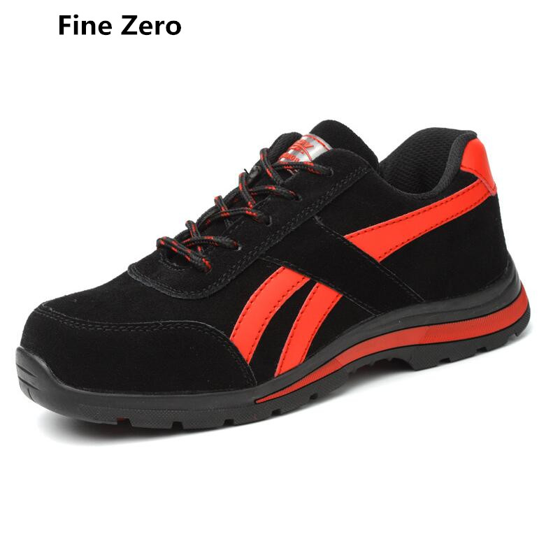 Good Fine Zero Men Big Size 46 Spring Autumn Boots Work Safety Shoes Steel Toe Cap For Anti-smash Puncture Proof Protective Footwear