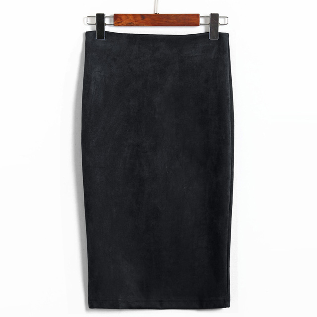 Solid Color Pencil Skirt Female Winter High Waist Bodycon Vintage Split Thick Stretchy Skirts 5