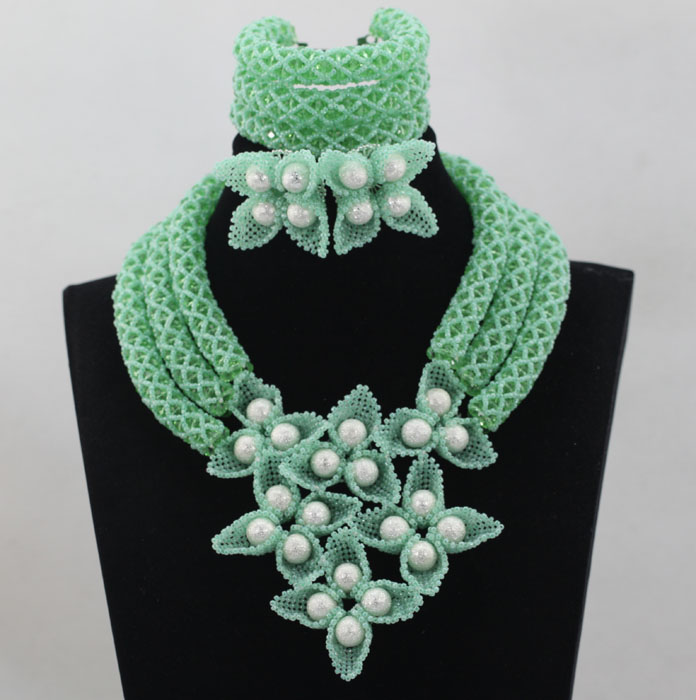 2017 Latest Mint Green Women Statement Necklace Earrings Set Wedding Costume African Fashion Jewelry Set Free Shipping WD369