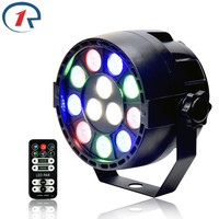 ZjRight IR Remote Control 15W Flat 12 LED Par Lights RGBW Projector Dmx512 Stage Light For