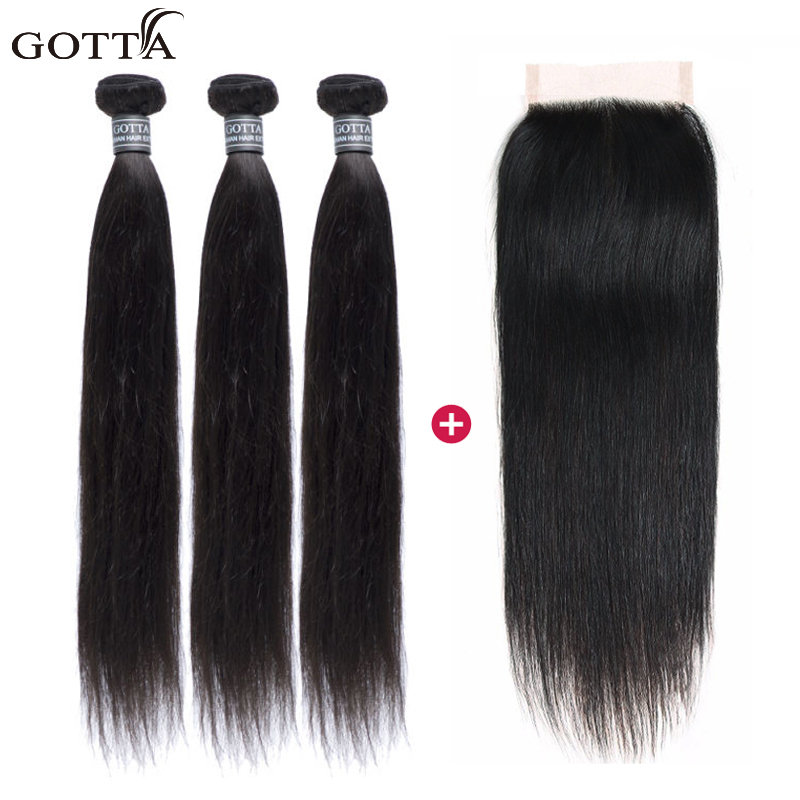 100% Brazilian Hair Weave Bundles With Closure Silky Straight Wave 4x4 Closure With Bund ...