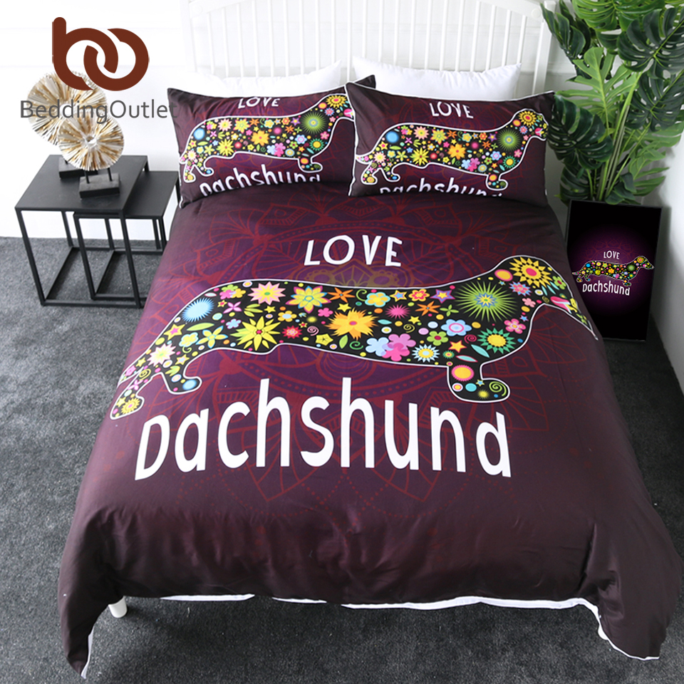 BeddingOutlet Dachshund Bedding Set King Cute Puppy Comforter Cover Cartoon Pet Kids Bed Cover Set Flower Mandala Bedspreads