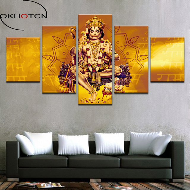 Wall Decorations For Living Room India Grey Paint Ideas Okhotcn Canvas Art Pictures Hd Prints Poster 5 Pieces Monkey Lord Hanuman Shri Ram Home Decor Framework