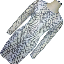 Sliver Geometric Sequin Bandage Dress Long Sleeve Vintage Office Pencil  Dress Womens Sexy Dresses Celebrity Night Club Dress