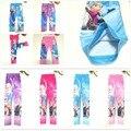 SALE Snow Queen 4Pcs/lot Free Shipping Elsa Anna Olaf Girls Leggings Princess Cartoon Legging Pants Kids Elestic Trousers
