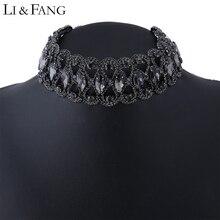 Li & colmillo negro moda étnica geométrica crystal set taladro rhinestone choker collar de la vendimia ahueca hacia fuera los collares mujeres de bohemia