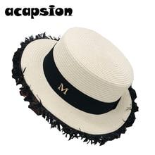 White Straw Sun Hats Women Short Brim Flat Top Panama Jazz Cap Beach Bowler Hat For Fedoras Chapeau Feminino A095