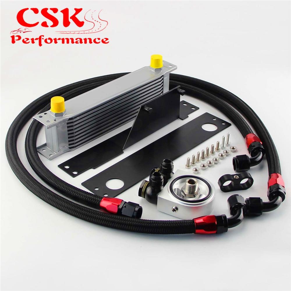 цена на 10 Row AN10 Racing Engine Oil Cooler Kit Fits For 01-05 Subaru Impreza WRX/STi Silver/Black