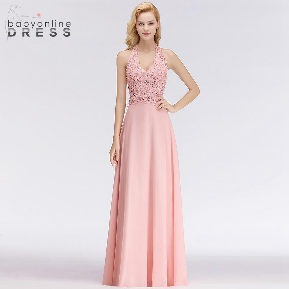 BabyonlineDress Luxury Pearls Decorated Halter Long Evening Dresses Sexy Backless Lace Women Evening Gown Robes De