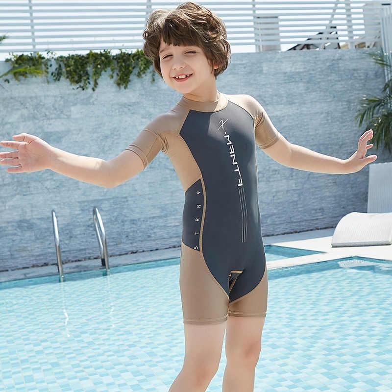 5b83ab26d ... UPF50+ Children Swimwear One Piece Bathing Suit Swimming Wear Boys  Girls Kids Sun-Protection Sport