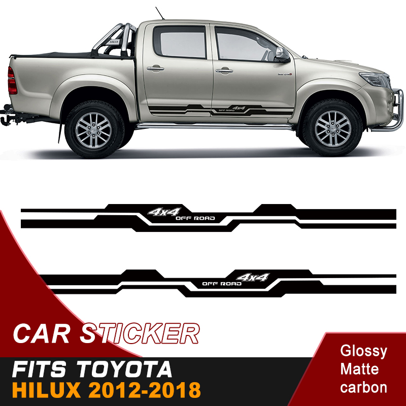 2PC free shipping hilux racing side stripe graphic Vinyl moutain sticker for TOYOTA HILUX revo and vigo 2012 2018 in Car Stickers from Automobiles Motorcycles