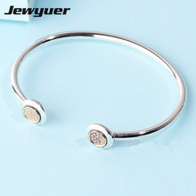 925 sterling silver Signature Bangles Bracelets with 14K gold clip fit charms beads DIY for women fine Jewyuer Jewelry YSZ068